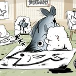 魚拓の取り方が分かっていないネコは?魚を使って魚拓を描く!