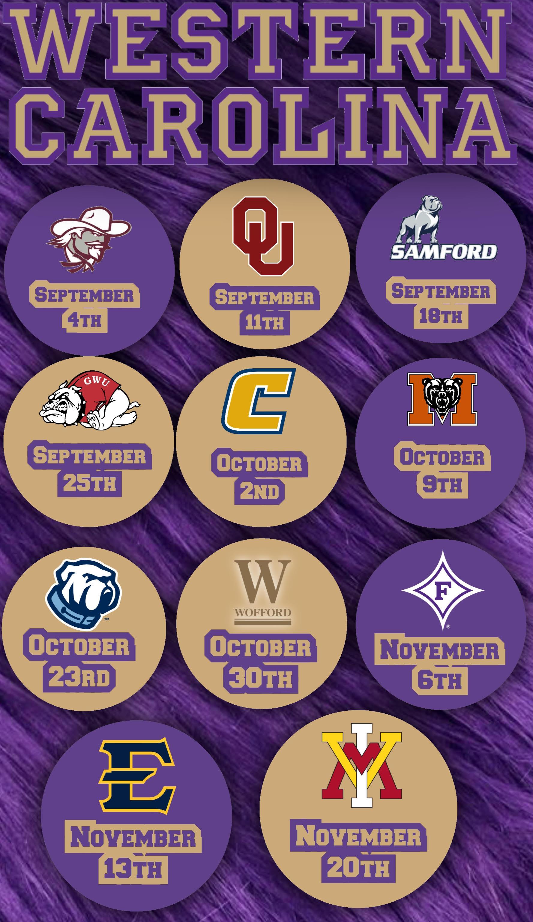 2021 WCU Fall Football Schedule
