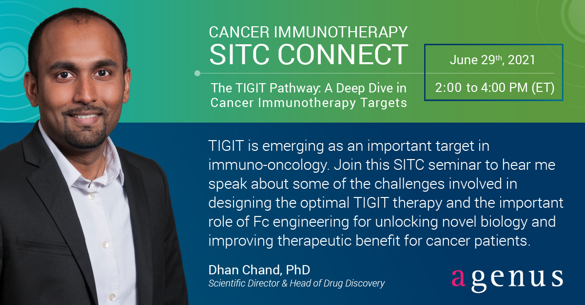 """test Twitter Media - Hear Agenus' Head of Drug Discovery Dr. Dhan Chand speak at the SITC seminar """"The TIGIT Pathway: A Deep Dive in Cancer Immunotherapy Targets"""" TODAY from 2-4pm ET! Click here to register and watch: https://t.co/lkjgbDTLV6  @dhanschand @sitcancer #immunotherapy #TIGIT https://t.co/5heoLuRMHc"""