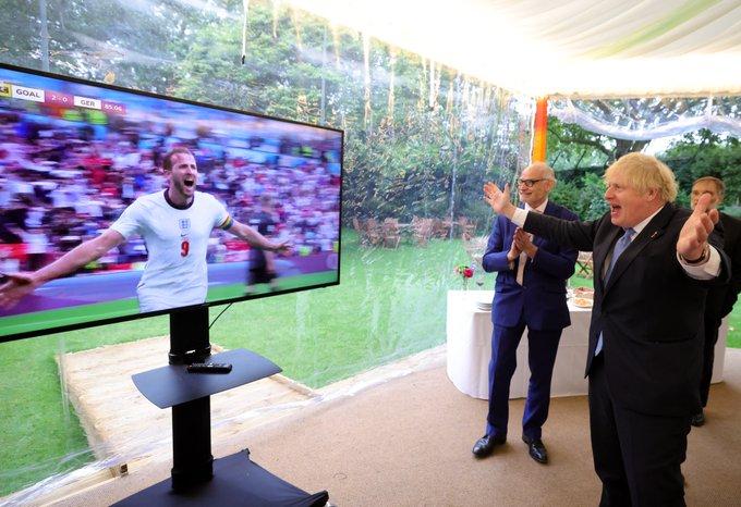 Prime Minister Boris Johnson watching the UEFA European Football Championship England v Germany game.