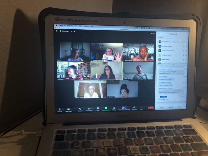 Zoom call with various #flipclass colleagues and students