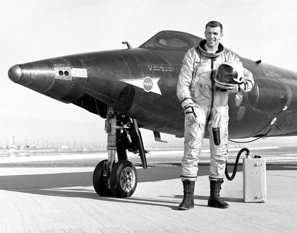 Joe Engle standing in front of the X-15-2