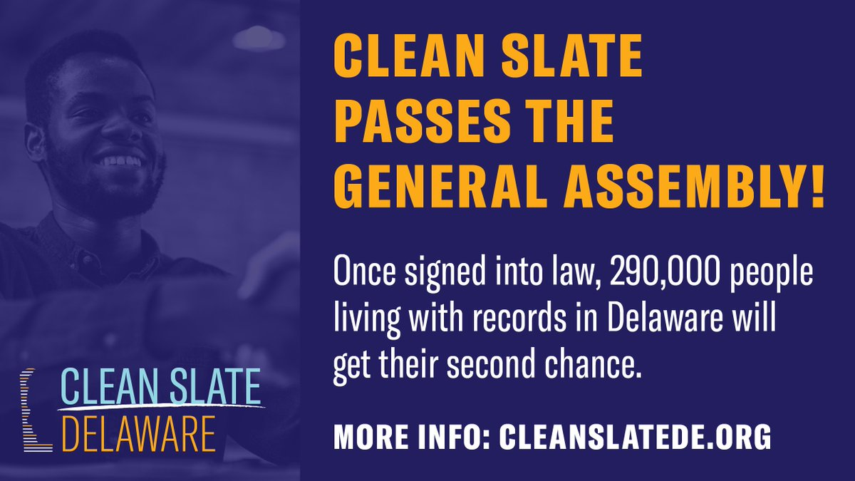 🎉Delaware just became the 5th state in the nation to pass #CleanSlate. Because of SB 111 & SB 112, 290k people living with records in Delaware will have access to the second chance they deserve. 🧵  This is a huge victory for second chances in the first state! https://t.co/0pLs4l4Ag1