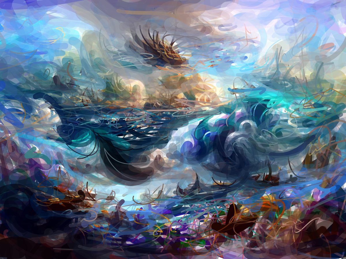 a beautiful epic wondrous fantasy painting of the ocean as imagined by Katherine Crowson