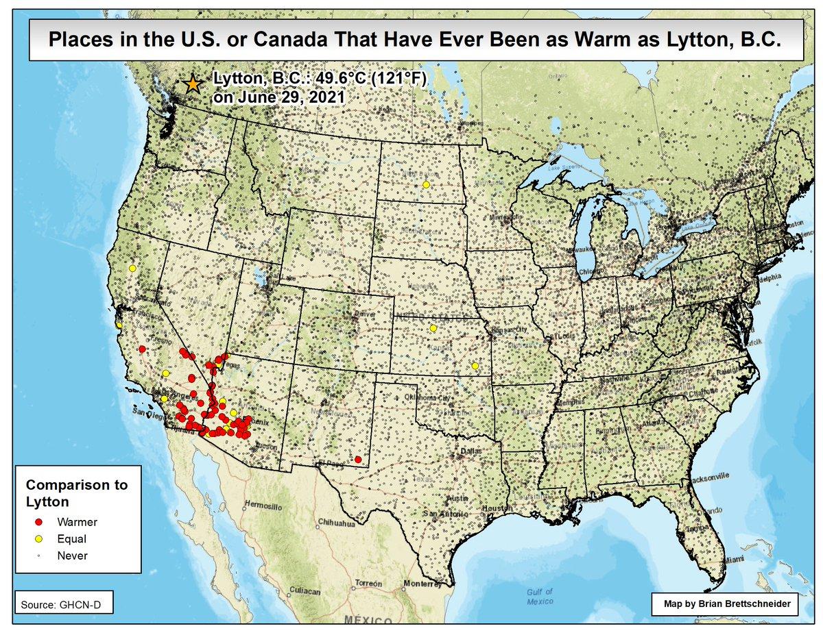 49.6°C à Lytton #Canada, c'est également un record mondial de chaleur au-delà de 50°N mais aussi au-delà de 45 °N ! En Amérique, seuls les déserts du sud des USA ont déjà connu plus chaud !