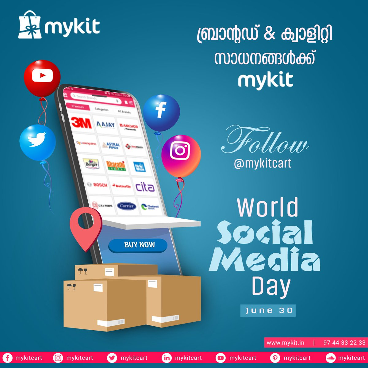 ബ്രാൻഡ് & ക്വാളിറ്റി സാധനങ്ങൾക്ക് myKit  Follow @mykitcart   World Social Media Day   #mykit #mykitcart  #brandyourhome #socialmedia #socialmediaday #socialvibe #besocial #onlineshopping #kannur #ecommerce #kerala https://t.co/rpbtwguj2l