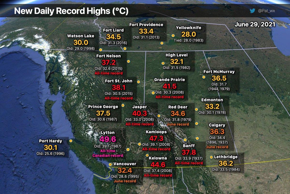 49.6°C à Lytton en Colombie Britannique, une valeur incroyable et historique, battant l'ancien record national du #Canada de près de 5°C !