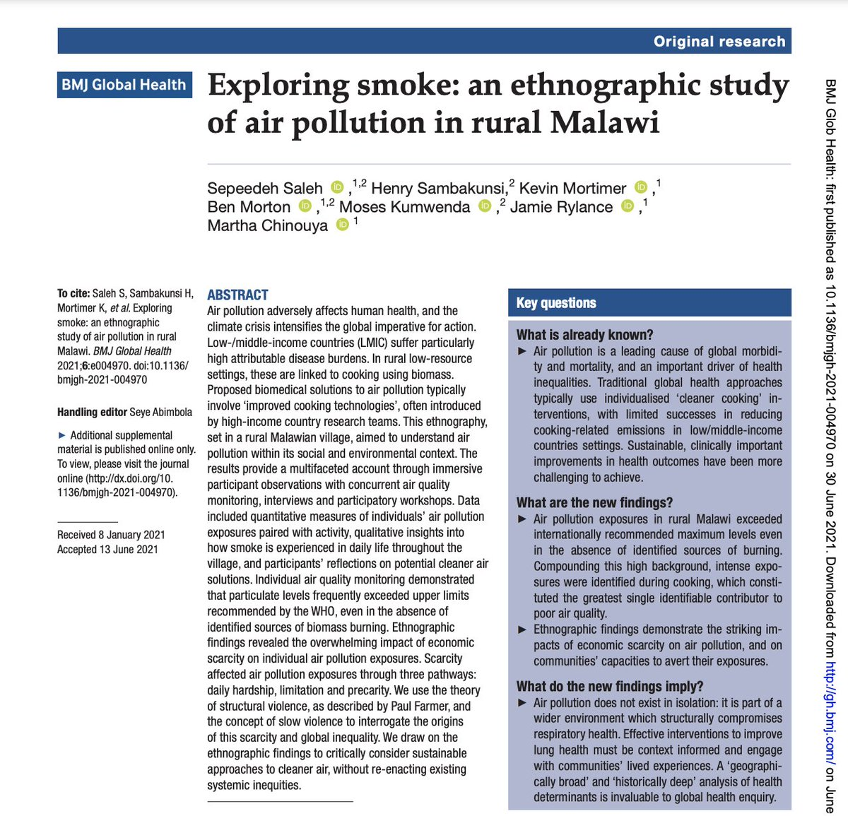 It's publication day! Our baby is out in the big wide world- Exploring smoke: an ethnographic study of air pollution in rural Malawi  https://t.co/krhk80017a https://t.co/9ZNDgL2Gh6