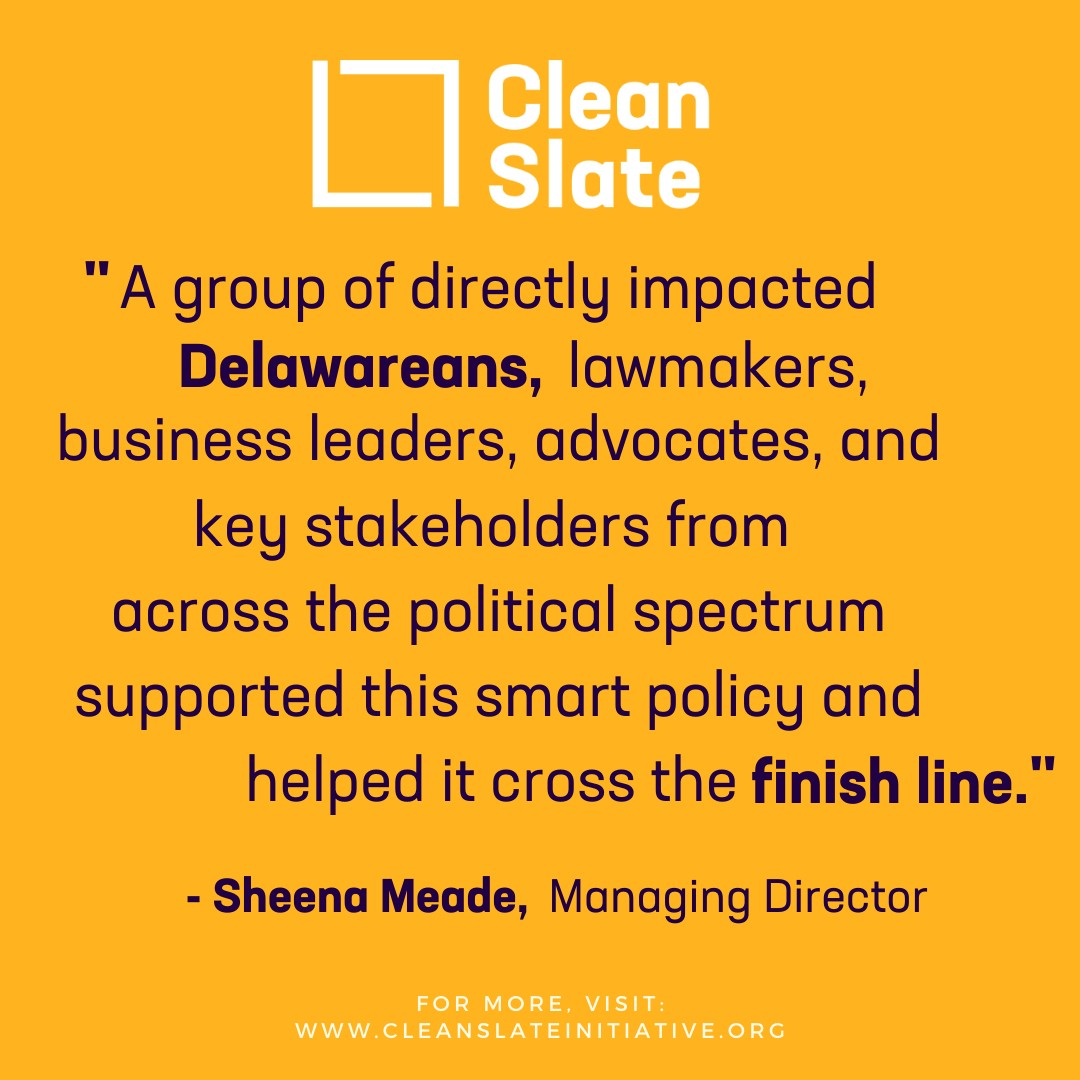 🥳We are still celebrating @CleanSlateDE's win with our partners @ACLUdelaware, Game Changers, Delaware Center for Justice, @amprog, @JPMorgan & beyond! #CleanSlate Act bills are off to @JohnCarneyDE to be signed into law!  Read more here: https://t.co/Jk0Mr4c1Ma  #SB111 #SB112 https://t.co/97SeD0gGIp