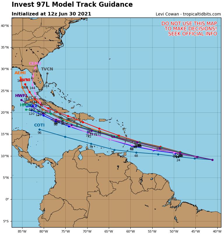 Une onde tropicale (97L) devrait se développer en système tropical ces prochains jours. L'arc antillais devrait être traversé par le système qui pourrait avoir le temps d'évoluer en tempête tropicale.