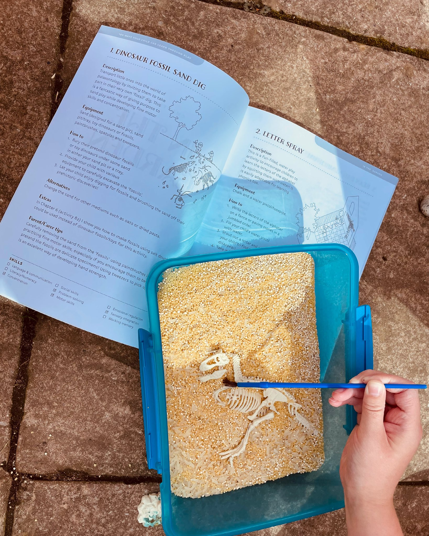 Fine Motor activity Dinosaur dig 100 ways to help your child learn through play.