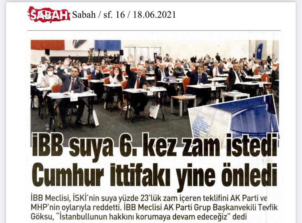 Bu gece yarısı %15 elektrik zammından sonra %12-20 doğalgaz zammı geldi. Bu manşet Sabah Gazetesi ve İstanbul'un muhalefet partisinin gerçek yüzünün resmidir.