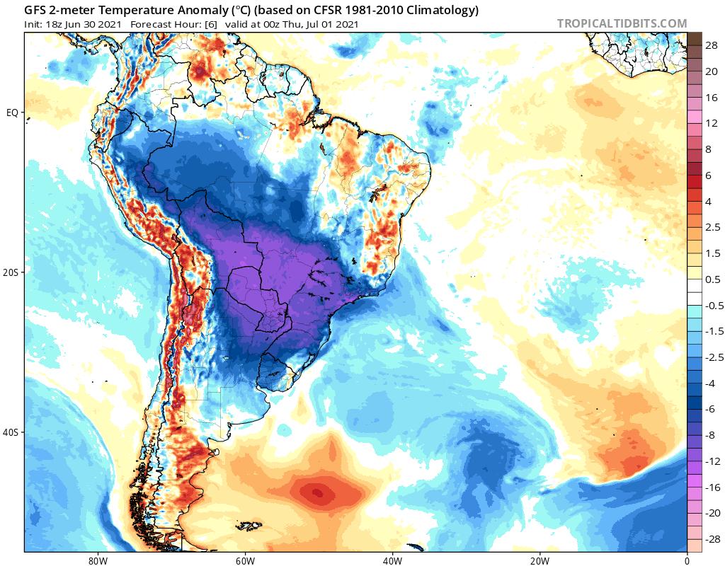Records de froid pour un mois de juin en Amérique du Sud notamment en #Bolivie et au #Paraguay.