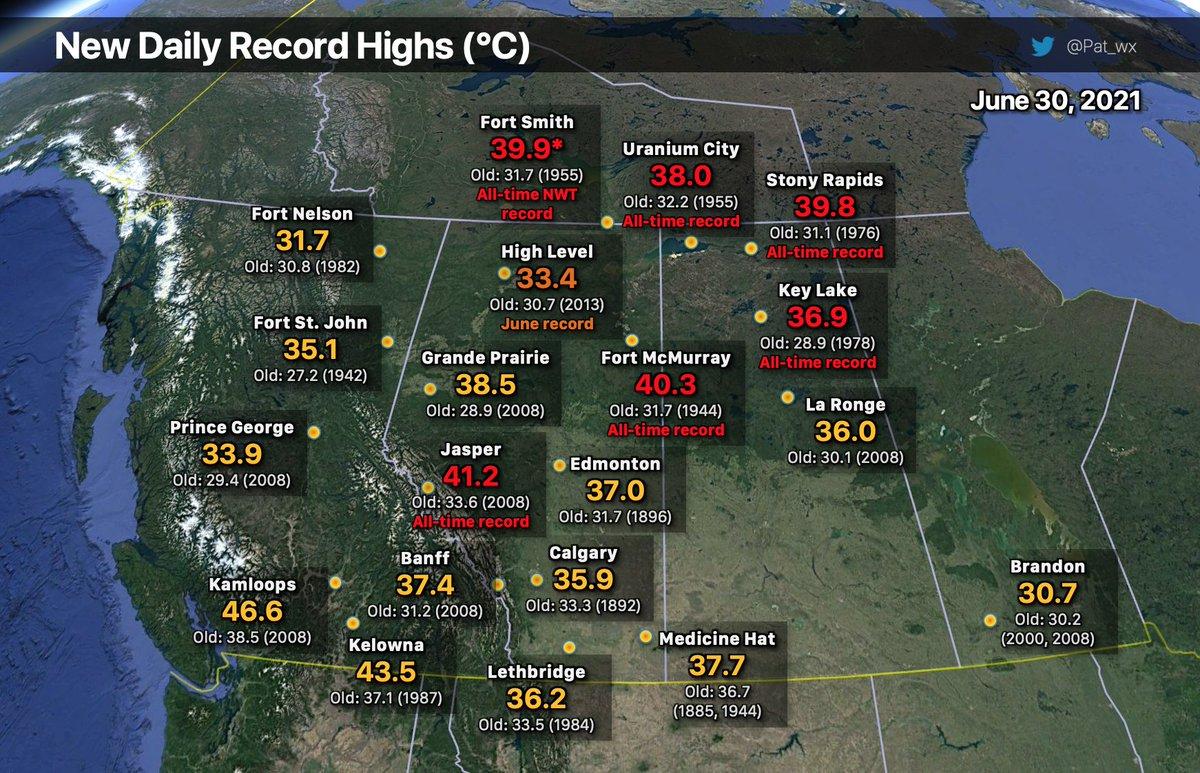 Près de 40°C à Fort Smith dans les Territoires du Nord-Ouest au #Canada, à 60° de latitude nord.  Il s'agit d'un record absolu pour les Territoires du Nord-Ouest. L'ancien record à Fort Smith était de 31.7°C !