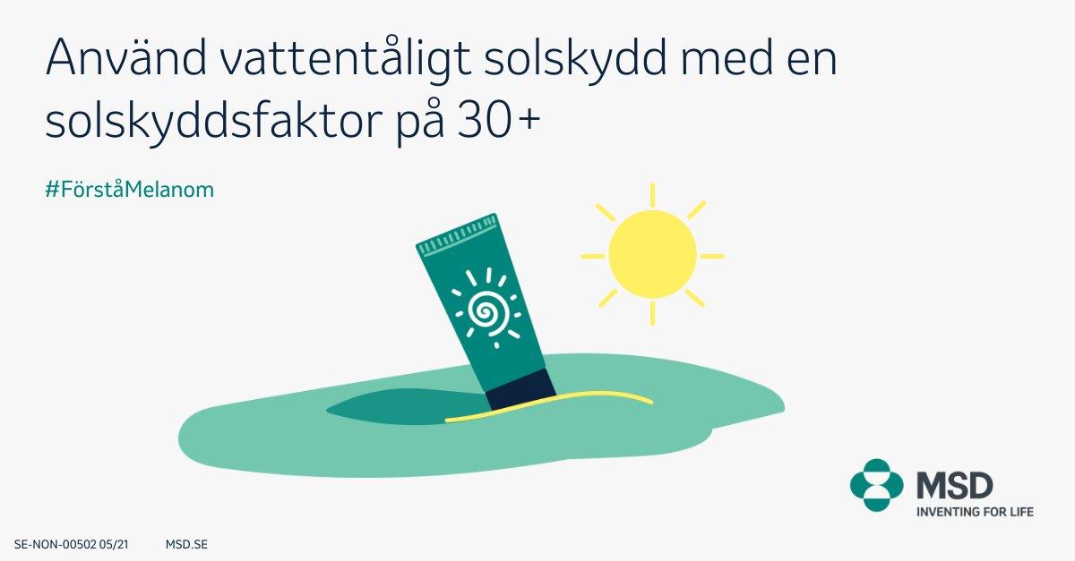 Känner du till hur du kan sänka risken för melanom? Ett sätt är använda ett vattentåligt solskydd. Se till att solskyddet har en solskyddsfaktor (SPF) på 30 eller högre. Läs mer på https://t.co/sw0lOchd1d  #Förståmelanom #Melanom #MelanomaAwarenessMonth https://t.co/ByzeOQy8JU