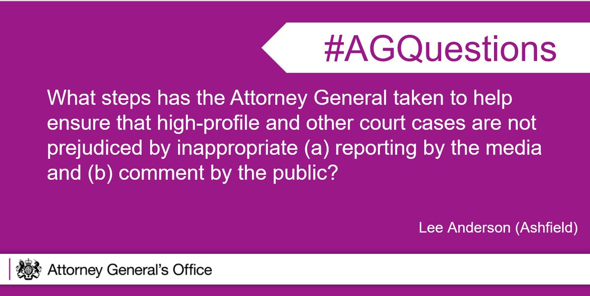 My Office has launched a campaign, called #ThinkBeforeYouPost, to promote awareness of the risks of ill-judged posts. It is critical that that evidence is tested before a jury, and not in the court of public opinion. #AGQuestions