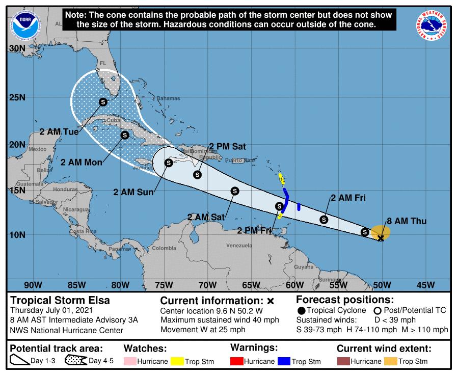 La tempête tropicale #Elsa est née au large de l'arc antillais qu'elle franchir ces prochaines 36h. Il s'agit déjà du 5ème système nommé. Il n'était jamais arrivé aupravant que 5 systèmes soient déjà nommés au 1er juillet d'une saison cyclonique Atlantique.