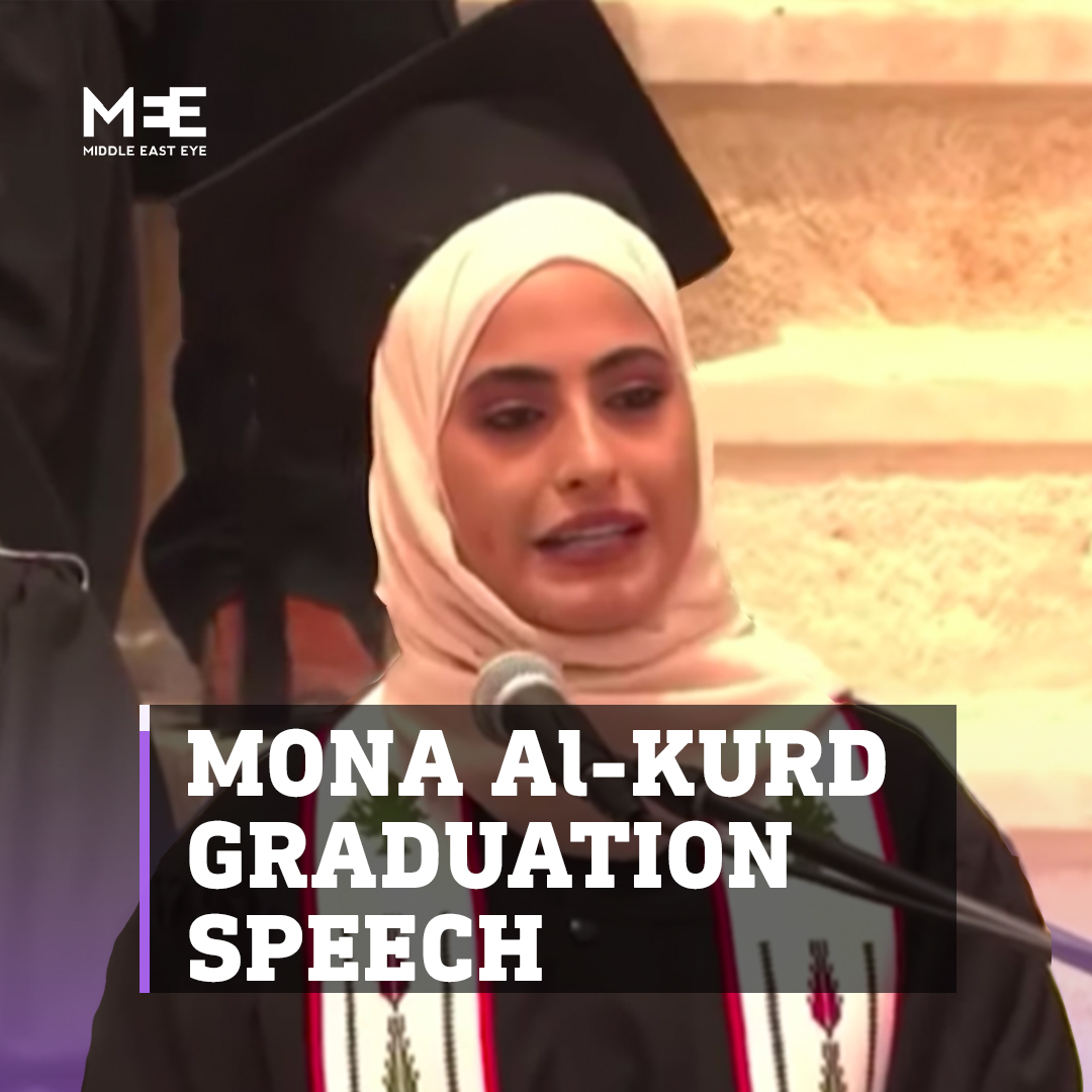 Here's Muna El Kurd's fantastic speech which she delivered as part of her graduation ceremony at Birzeit University - this time with English subtitles. Worth a watch:  https://t.co/e2HccQPtSr