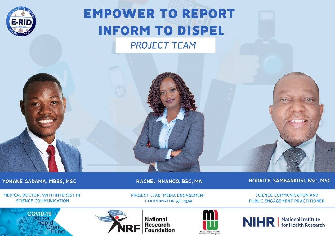 E-RID project is working with community radio stations to disseminate accurate and up-to-date COVID-19 information to Malawi's hard-to-reach populations.  The project is funded by @NRF_News through the COVID-19 Africa Rapid Grant Fund and hosted by @MlwTrust   Meet the team. https://t.co/nEWMNdFpvb