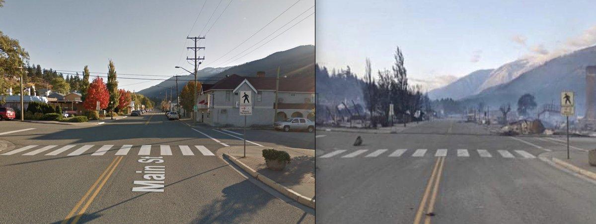 Après les 49,6°C de mardi, la commune de Lytton au #Canada est dévastée suite aux incendies. Ici la rue principale de la ville.