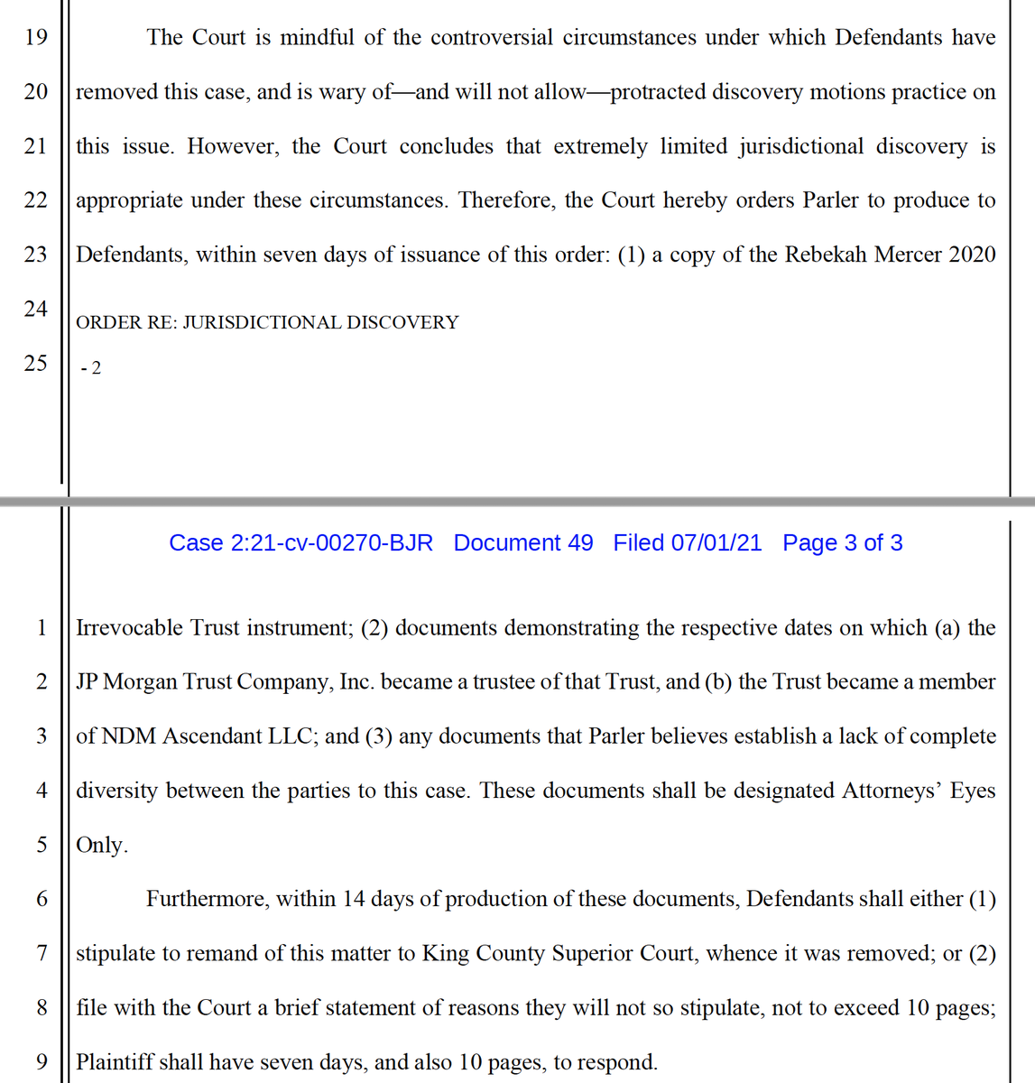 After @parler_app turned over the documents ordered by the court, @amazon apparently is confident that they support its position that the case is properly in federal court. But unfortunately, Amazon's supp brief is almost entirely redacted. https://t.co/ePTnbR6ZXe