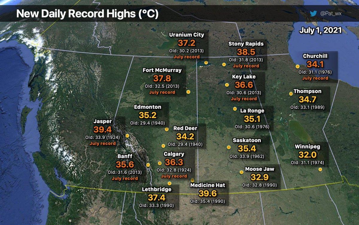 La vague de chaleur s'est poursuivie au #Canada hier en se décalant vers l'est. De nombreux records pour un mois de juillet ont été battus, avec jusqu'à 37.2°C à Uranium City dans le Saskatchewan, à près de 60°N.