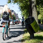 Image for the Tweet beginning: Tilted waste bins for cyclists