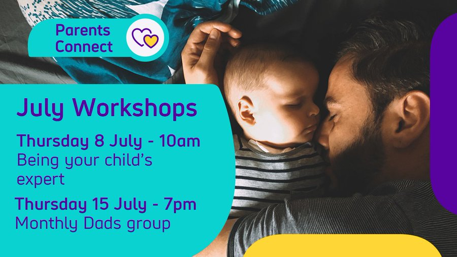 A dad sleeping next to his young baby Text Parents Connect July Workshops - Thursday 8 July - 10am - Being your childs expert Thursday 15 July - 7pm - Monthly Dads group
