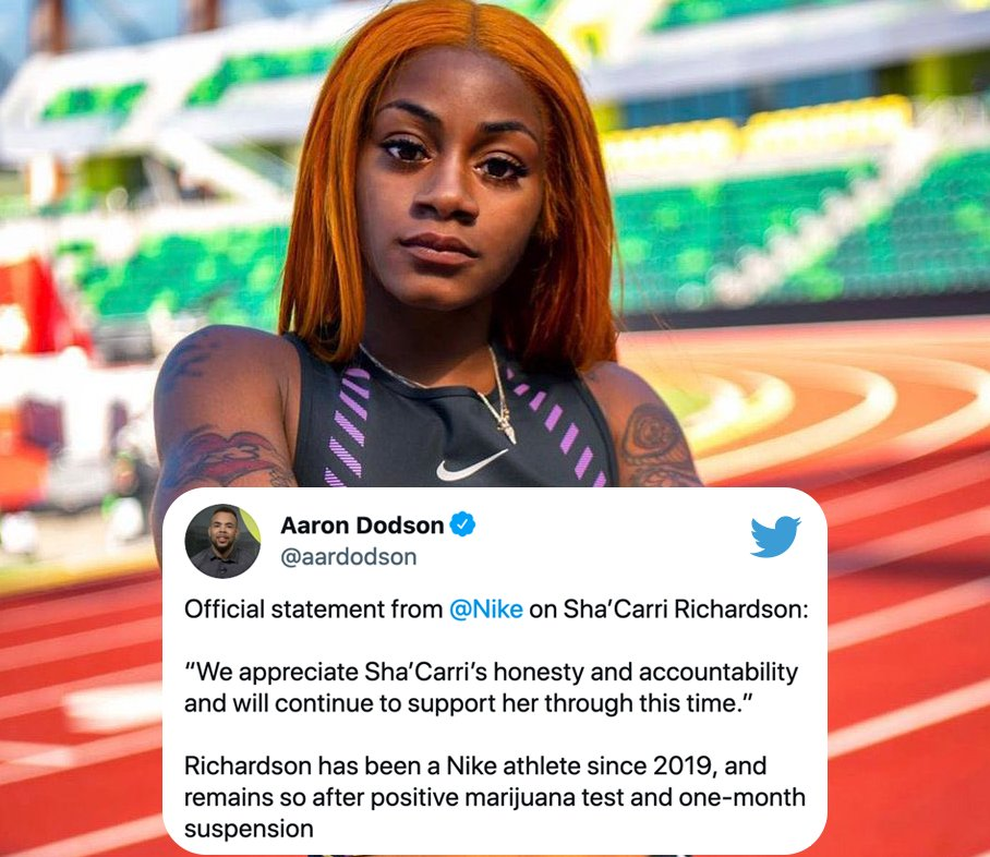 """The Undefeated on Twitter: """"Nike is sticking with its athlete, Sha'Carri Richardson, after she tests positive for cannabis and is disqualified from competing in the Tokyo Olympics' 100m race. (Via @aardodson)… https://t.co/7AfguC0OYJ"""""""