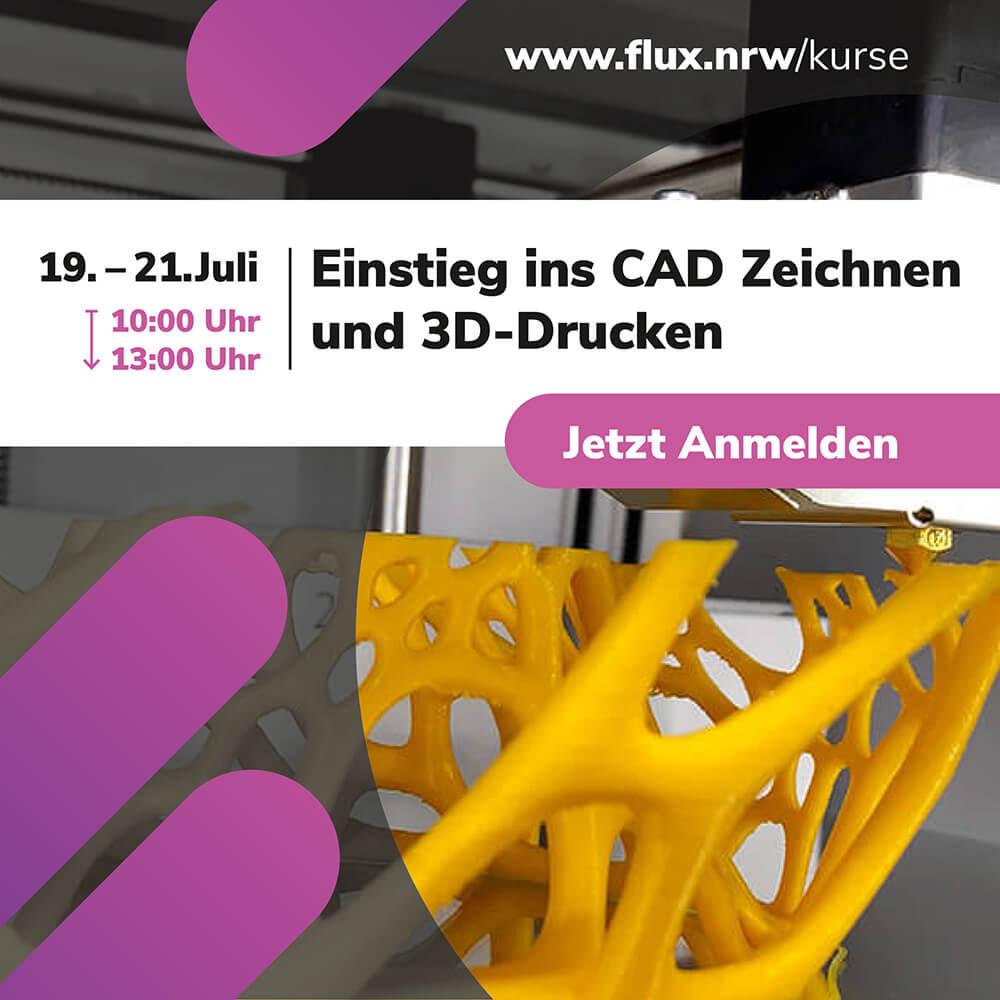"""Jetzt anmelden 📣 #CAD Zeichnen und 3D Drucken lernen 🤖 Kostenfreier Kurs für #Schülerinnen und #Schüler vom 19.-21.07.2021: <a href=\""""https://t.co/aiXv1vMtok\"""" class=\""""link-tweet\"""" target=\""""_blank\"""">https://t.co/aiXv1vMtok</a> #Ferienkurs #MINT #Schülerlabor #Sommerferien #Schule #FLUX #LichtforumNRW #3ddesign #3Dprinting #Fusion360 <a href=\""""https://t.co/VPMtoY5jvU\"""" class=\""""link-tweet\"""" target=\""""_blank\"""">https://t.co/VPMtoY5jvU</a>"""