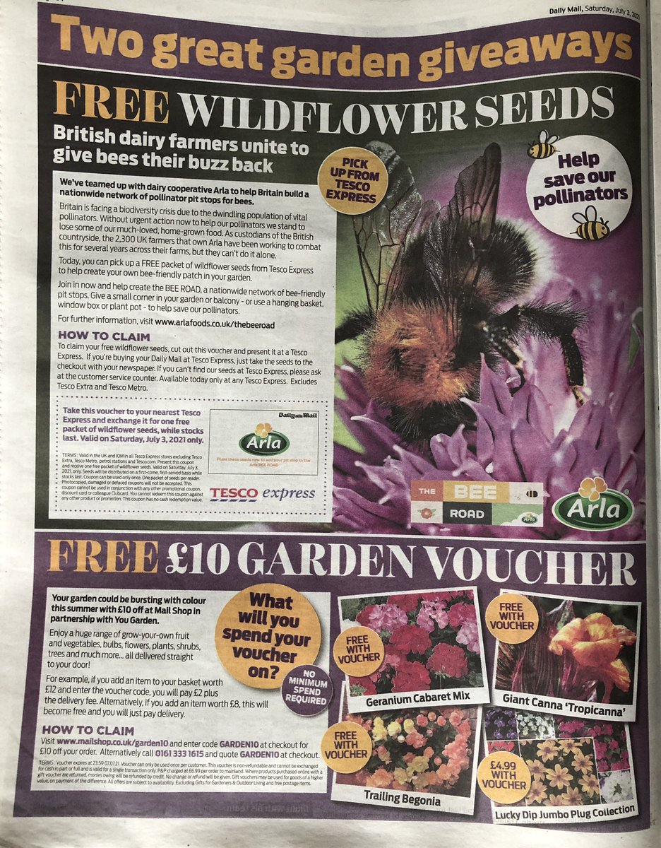 In today's @DailyMailUK farmers from Britain's biggest dairy company @ArlaFoodsUK invite people to join the #ArlaBeeRoad campaign and plant flower seeds, just as our farmers are doing on pastures up and down the country to improve biodiversity. @ArlaDairyUK #ForwardThinkingDairy https://t.co/lCYrfskrpP