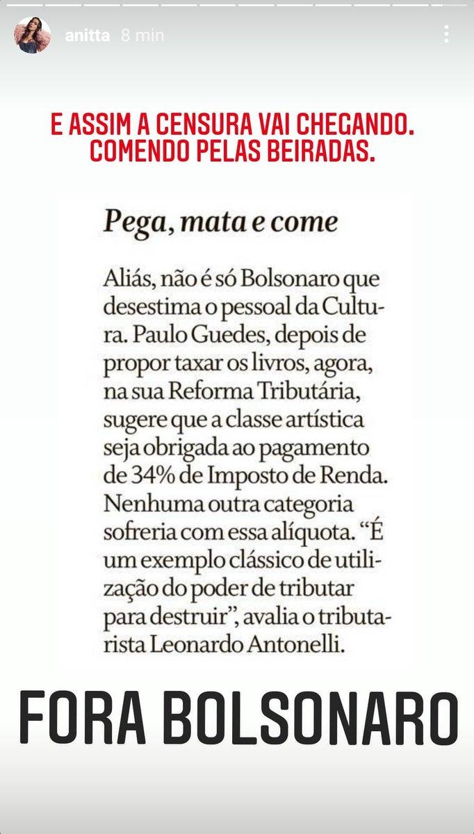 """Anitta detona Bolsonaro e Paulo Guedes: """"E assim a censura vai chegando e comendo pelas beiradas"""""""