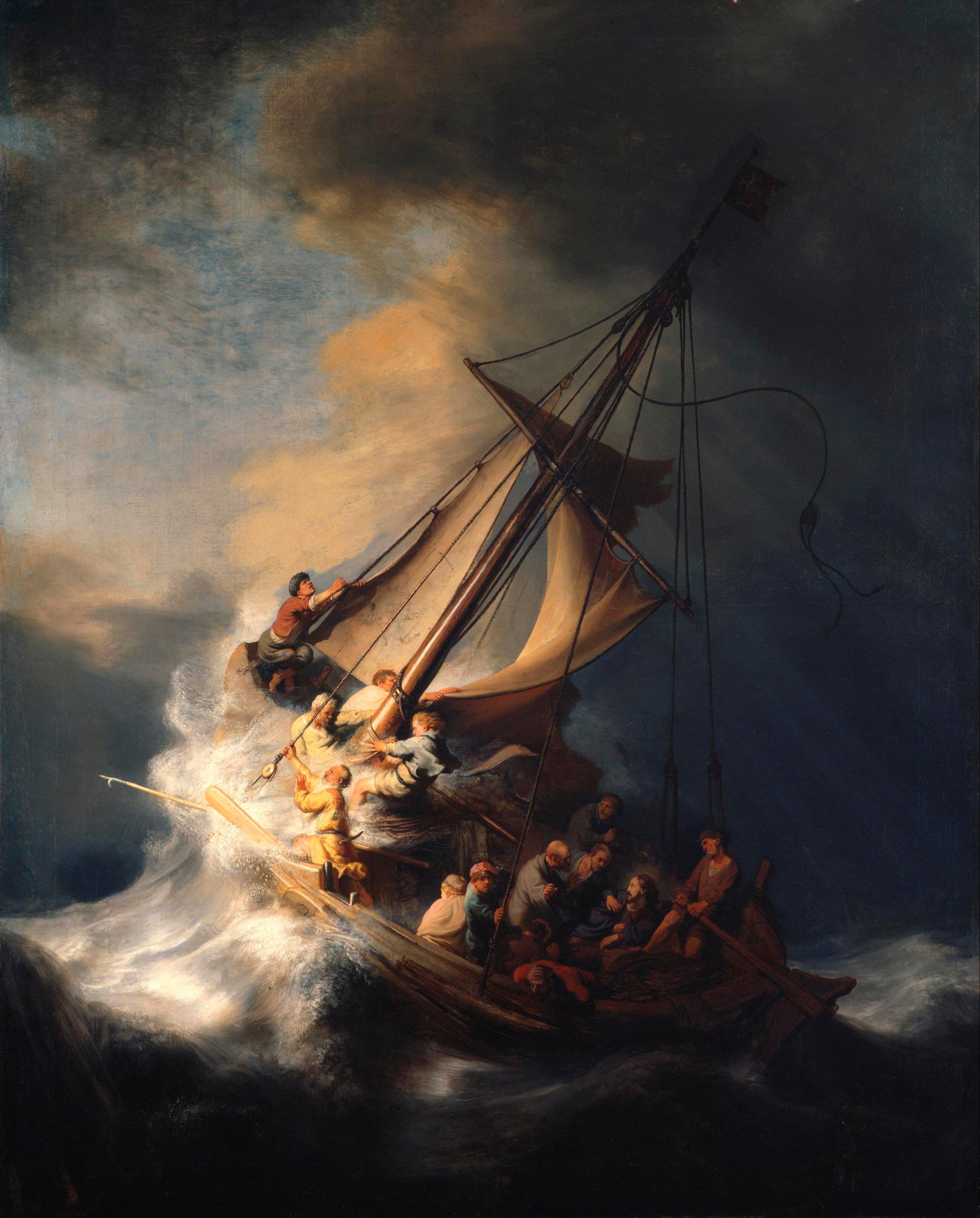 Jesus Cristo com os apóstolos na barca