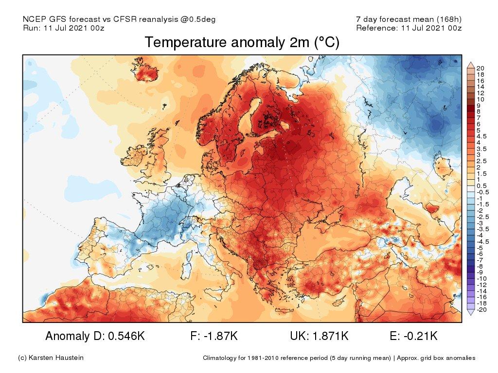 Sans doute l'une des semaines d'été les plus maussades de ces 5 derniers étés à venir avec une anomalie thermique hebdomadaire proche de 2°C sur la France.  Entre le 13 et le 15 juillet, l'indicateur thermique national pourrait afficher un déficit de 3 à 4°C.