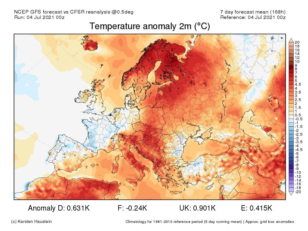 La semaine prochaine s'annonce encore assez loin du plein été avec des températures hebdomadaires légèrement inférieures aux normales prévues sur la France, avec la proximité d'un énième thalweg d'altitude. Dorsale très chaude du Maghreb au centre de l'Europe et en Scandinavie.