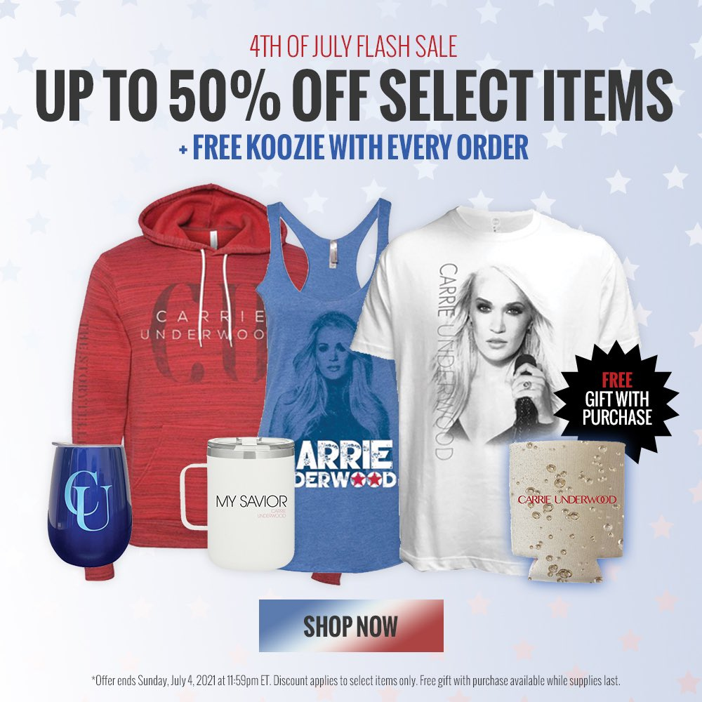 Happy 4th of July! TODAY ONLY: Save up to 50% on select items in Carrie's official online store! Shop now at https://t.co/ULksyoaCgE -TeamCU https://t.co/jJ7xnJ03Jq