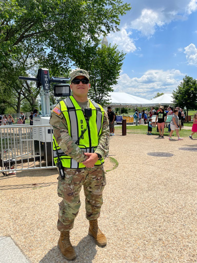 #IndependenceDay means #freedom to me. This is an important mission to keep the public safe.  - U.S. Army Spc. George Hill, motor vehicle operator, 547th Transportation Company.  What's more American than wearing this uniform on #fourthofjuly in DC, while serving the #community? https://t.co/meOGr7ffkV