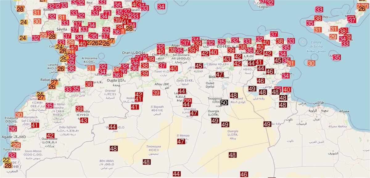 Et 49,5°C à Touggourt en #Algérie ce dimanche, qui devient la température la plus élevée relevée cette année en Afrique. Comme le signale @extremetemps, cela met en perspective le caractère hors norme des 49,6°C de Lytton au Canada.