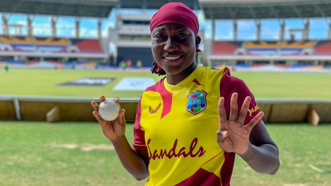 Stafanie Taylor registered her first hat-trick for West Indies and ended with figures of 4/17 (3.4 overs). PC: WindiesCricket / Twitter
