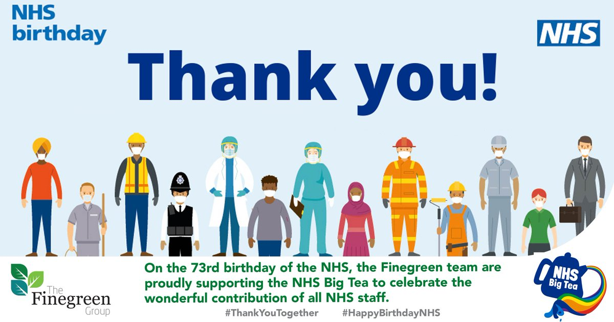 On the 73rd birthday of the NHS, the Finegreen team are proudly supporting the NHS Big Tea to celebrate the wonderful contribution of all NHS staff.  #ThankYouTogether #HappyBirthdayNHS https://t.co/nAaxKSDapQ