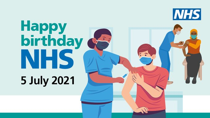 """Two nurses giving a vaccination to two members of the public. The words read """"Happy Birthday NHS, 5 July 2021."""""""