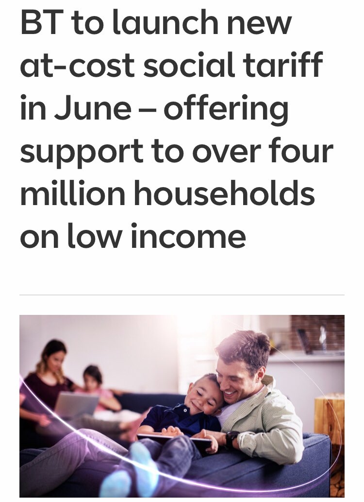 BT has launched a 'social tariff' aimed at those on benefits/low incomes. The £15 a month broadband & phone tariff will allow qualifying customer to halve their internet bill. To qualify you must be in receipt of a benefit, visit their website for info: https://t.co/4IHOHuagkH https://t.co/Z7nbtO99UF