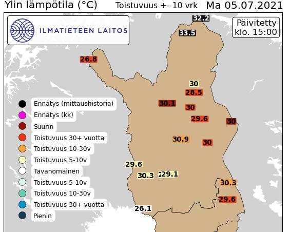 33,5°C relevés à Utsjoki-Kevolla à près de 70°N ! Il s'agit de la plus haute valeur relevée en Laponie finlandaise depuis 1914 où 34,7 avait été mesuré (questionnements sur la validité de la valeur).  A Banak en #Norvège, il a fait 33.7°C, par 70,4°N.