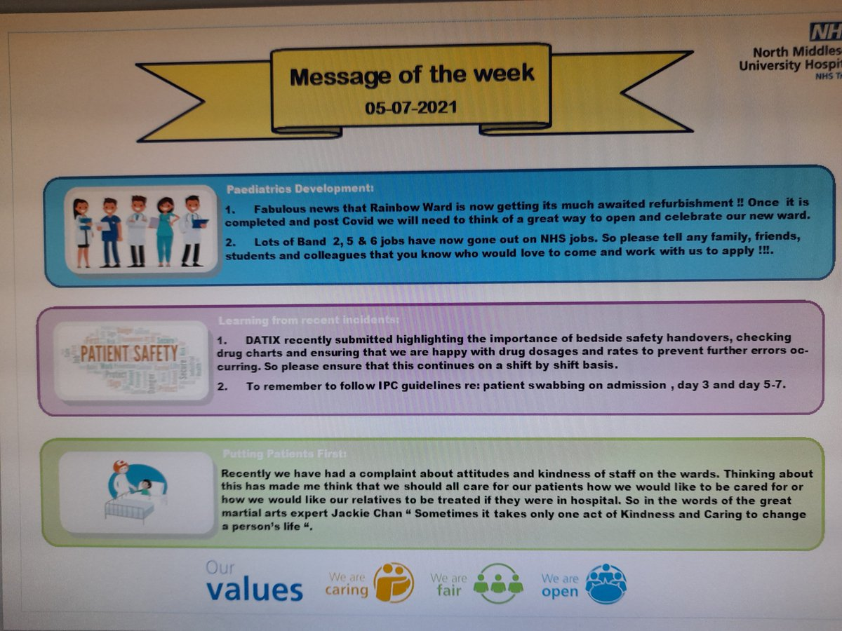 Starlight Wards new ' Message of the Week'.#learningfromincidents#updates#teamwork#paedsrocks😊🌈🌟
