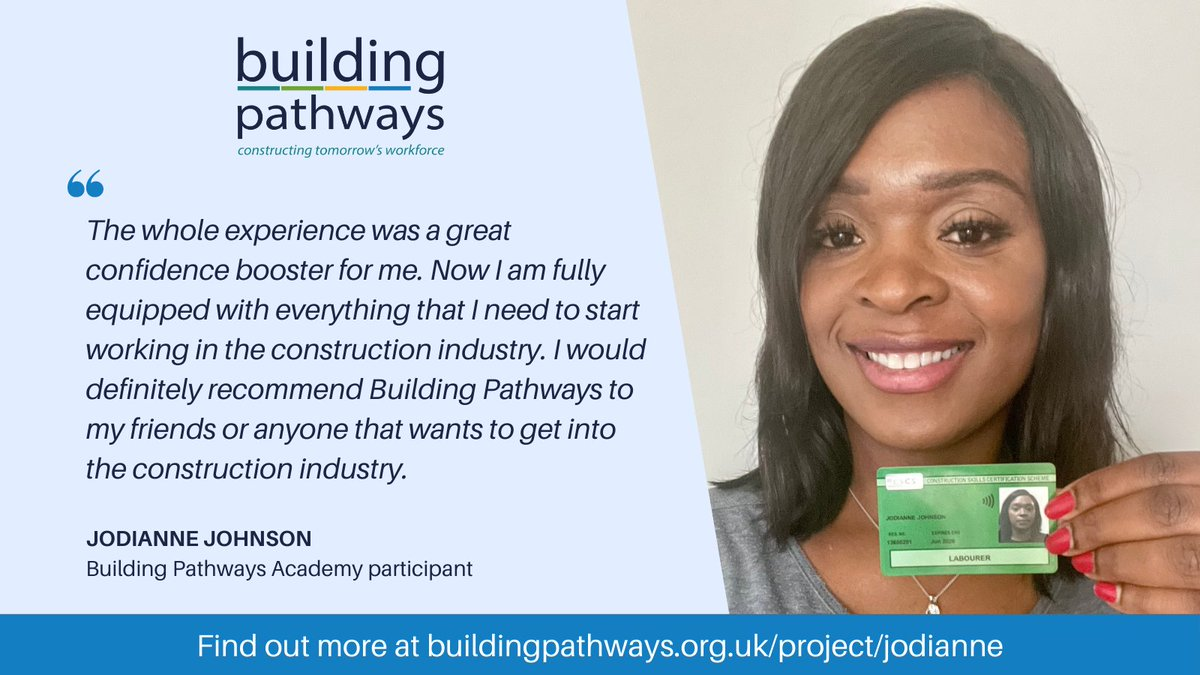 It's always fantastic to hear about the positive impact our work has on people. Click to read about Jodianne's experience with Building Pathways and how her decision to pursue her passion has led to a career change https://t.co/IaeMKqjBrw #ConstructionUK #WomenInConstruction