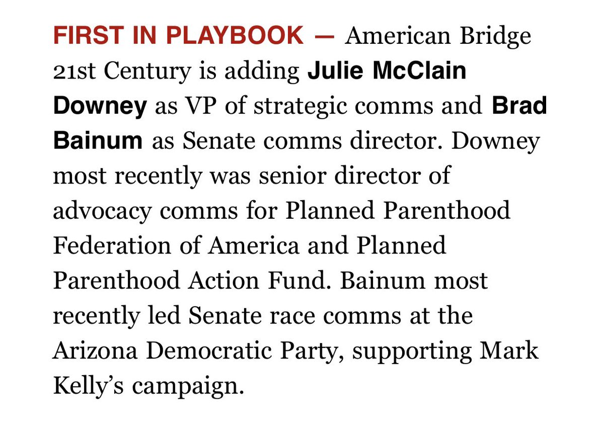 It's ~personal news~ Tuesday! I am so excited to get to work at @American_Bridge to defend @POTUS's agenda and elect more Democrats. I'm particularly excited about the way the organization is investing in understanding and communicating to women voters. We can win in 2022. https://t.co/Vyf4ccrtbn