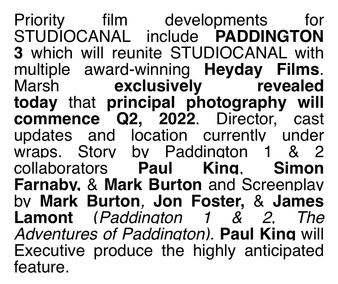 the hottest news from Cannes so far / ever: PADDINGTON 3 confirmed to shoot next summer.  2023 Cannes Competition slot and automatic Palme d'Or both strongly implied. https://t.co/fGZdTKLVAt