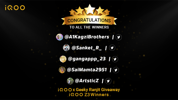 The results are out. Here are the lucky winners of the iQOO Z3 x GeekyRanjit giveaway!  A big congratulations to all the winners for winning #iQOOZ3  Stay tuned for more such interesting giveaways!  #iQOOZ3Giveaway #iQOO https://t.co/GMoNrWJpAf