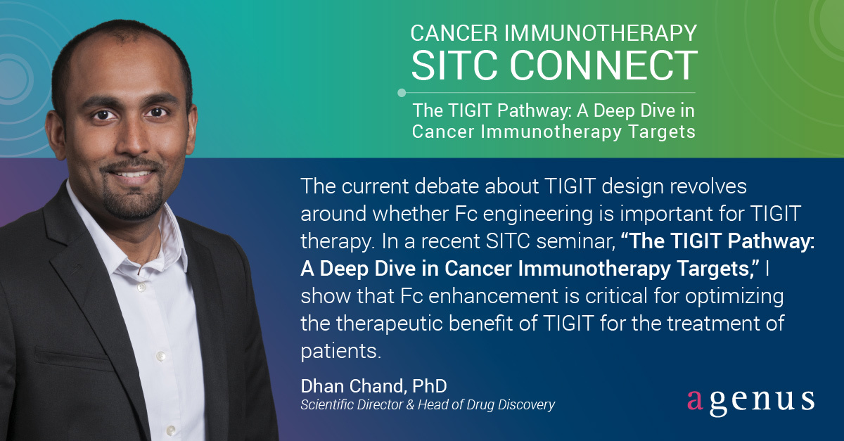 """test Twitter Media - Is Fc enhancement required for optimal performance of anti-TIGIT molecules?   Dr. @dhanschand spoke at the @sitcancer seminar """"The TIGIT Pathway: A Deep Dive in Cancer Immunotherapy Targets"""" to address this question & discuss this emerging IO target #TIGIT https://t.co/7owWLMRZhQ https://t.co/QRAnWW7Qp1"""