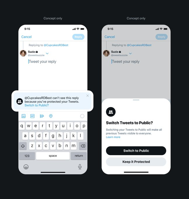 """Shows prompt when tweeting a reply. """"Tweet author can't see this reply because you've protected your Tweets."""" """"Switch to Public?"""" links to more info."""